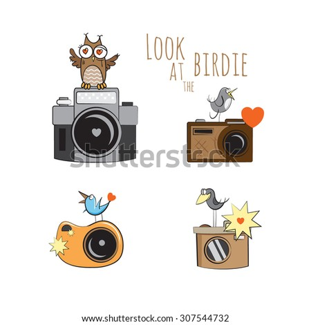 Vector set with cartoon cameras and cute birdies. - stock vector