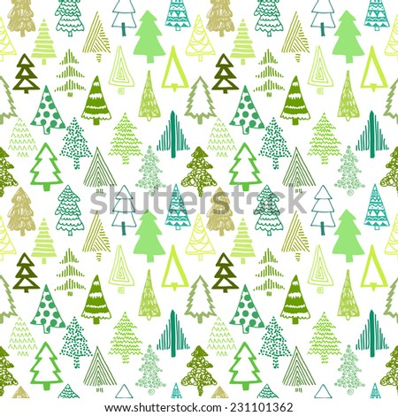 Vector set with Christmas tree. For Merry Christmas and Happy Hew Year. Isolated design on the white background. Christmas individual seamless pattern - stock vector