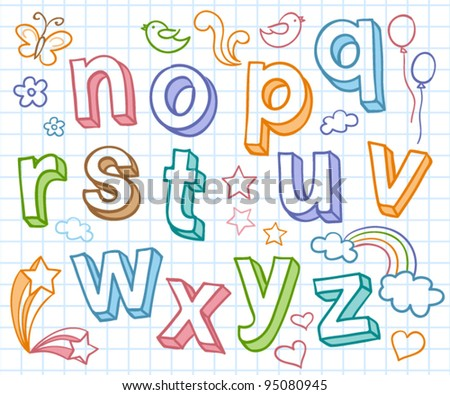 Vector set with color hand written ABC letters - stock vector