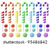 Vector set with colorful candies on white background - stock vector