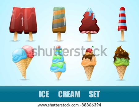 vector set with colorful ice cream - stock vector
