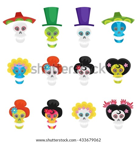 Vector set with colorful skulls for day of the dead isolated on white. Sugar skulls for mexican day of the dead. Cute skulls and flowers in a cartoon style. Halloween skulls. - stock vector