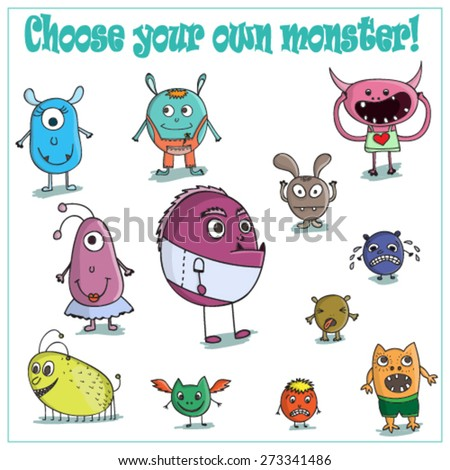 Vector set with cure colorful monsters - stock vector