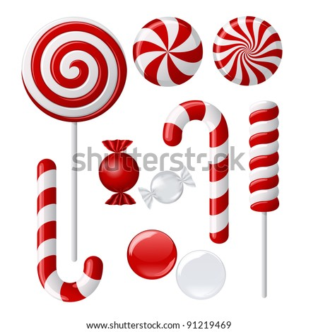 Vector set with different red and white candies - stock vector