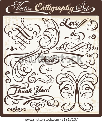 Vector set with exquisite calligraphic and ornamental designs. Great for wedding invitations and layout embellishment. - stock vector