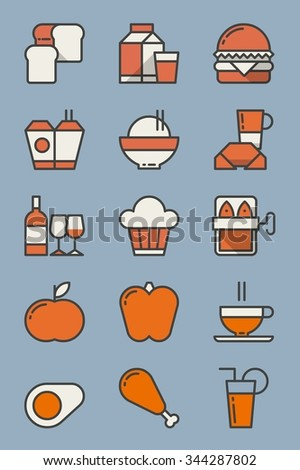 vector set with food icons - stock vector
