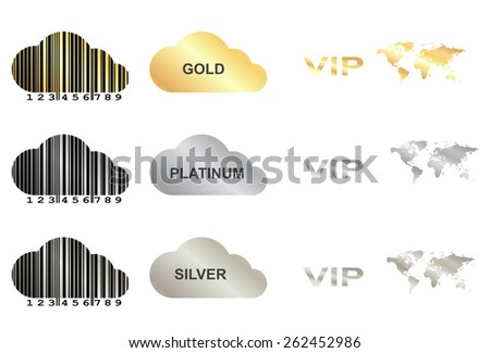 vector set with gold, silver and platinum  �  clouds with a barcode, vip word, world map, a cloud with the words gold, silver, platinum - stock vector