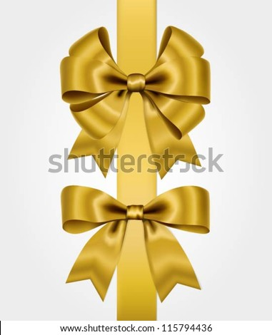 Vector set with golden bows - stock vector