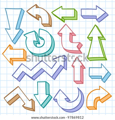 Vector set with hand drawn colorful arrows - stock vector