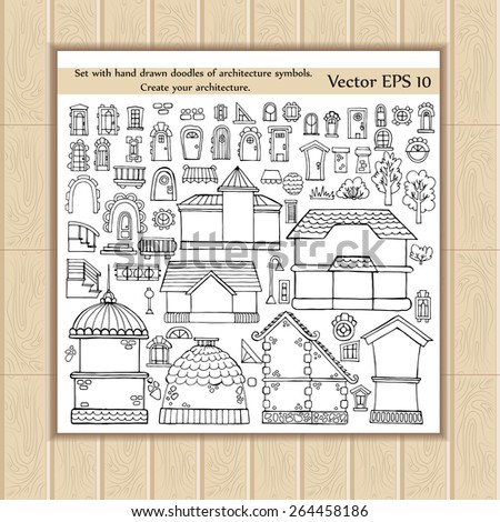 Vector set with hand drawn doodles of architecture symbols on white background. Sketches for use in design - stock vector
