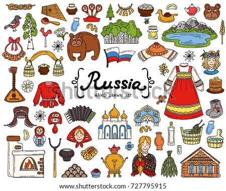 vector set with hand drawn isolated colored doodles on the theme of russia national symbols