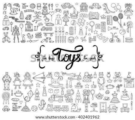 Vector set with hand drawn isolated doodles of toys for boys and girls. Flat illustrations on the theme of activities for children, games. Sketches for use in design - stock vector