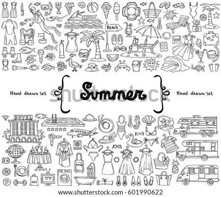 Vector set with hand drawn isolated doodles on the  theme of summer, travel and tourism. Flat illustrations of recreation symbols on white background. Sketches for use in design