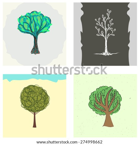 Vector set with hand drawn trees. Vintage style illustration