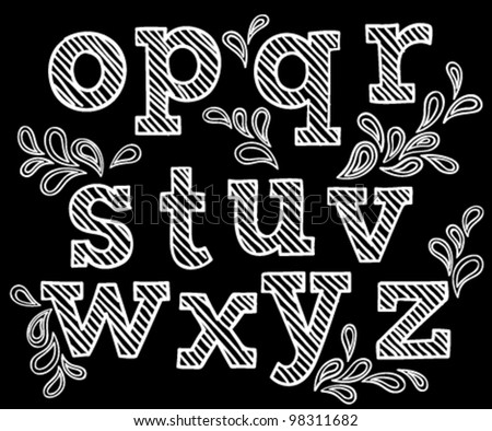 Vector set with hand written ABC letters in black background