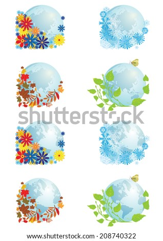 vector set with illustrations of globe in four seasons - stock vector