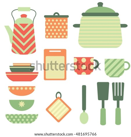 Vector set with kitchen items in red, green and orange colors