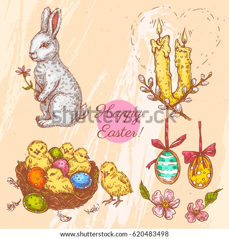 Vector Set With Linear Sketches. Easter Bunny With Flower, Candles, Easter  Eggs, Great Pictures