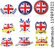 Vector set with nine different badges for the United Kingdom - stock vector