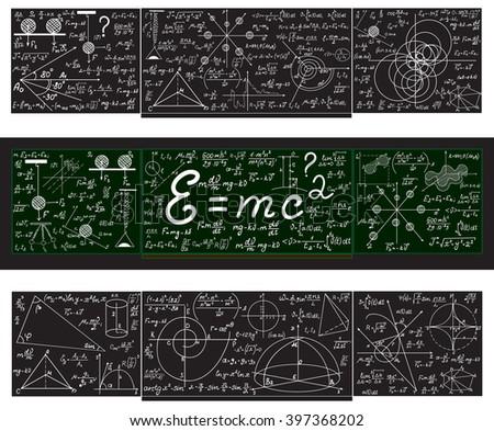 Vector set with school blackboards with handwritten mathematical calculations, plots and figures - stock vector