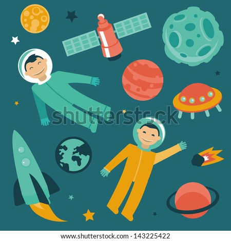 Vector set with space and planets icons - astronaut in space - stock vector