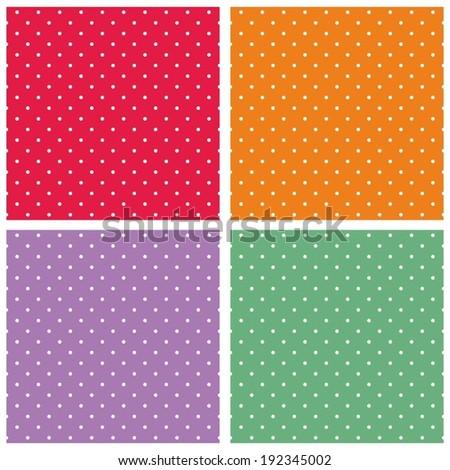 Vector set with sweet tile patterns with white polka dots on pastel, colorful summer background: red, orange, violet and green for desktop wallpaper or kids website design - stock vector