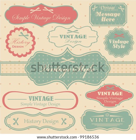 vector set with vintage labels - stock vector