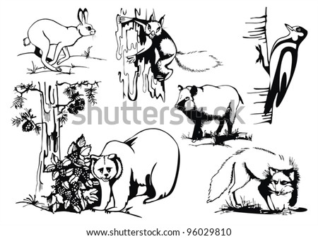 vector set with wild animals, artistic sketch, vector drawings - stock vector