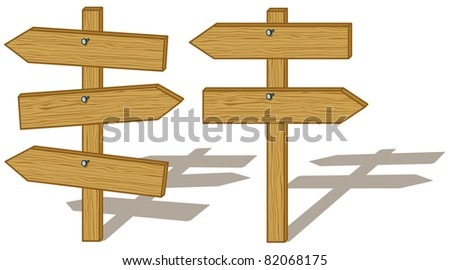 Vector, set wood board signs isolated on white background - stock vector