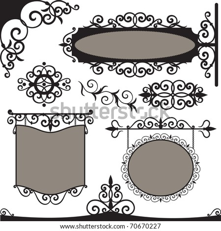 Vector set: wrought iron vintage signs and elements for design - stock vector