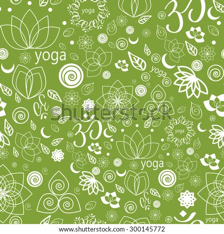 Vector Set Yoga Labels and Icons seamless pattern in green - stock vector