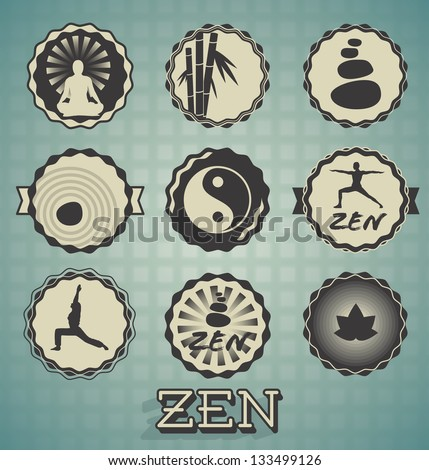 Vector Set: Zen Labels - stock vector