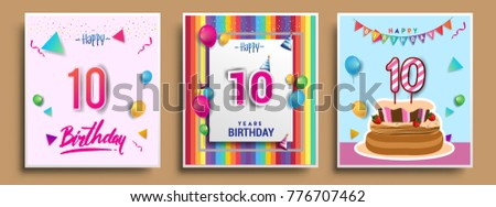 Vector sets 10 years birthday invitation stock vector 776707462 vector sets of 10 years birthday invitation greeting card design with confetti and balloons stopboris Images