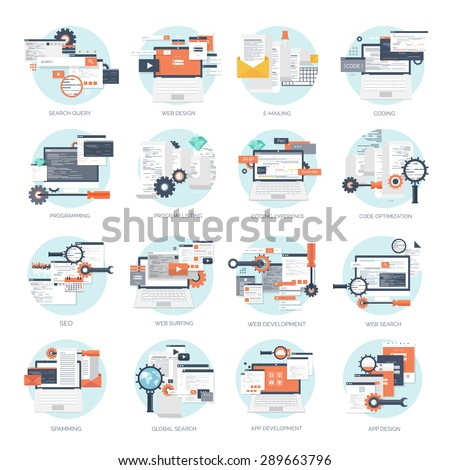 Vector sets with  flat backgrounds. Coding and programming. Web search and SEO. Web development. Cloud technology. Spamming and e-mailing. - stock vector