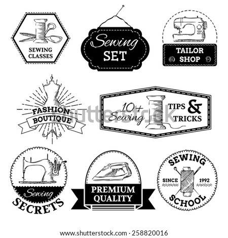 Vector sewing and fashion logo templates. Linear retro design. There is place for your text. - stock vector