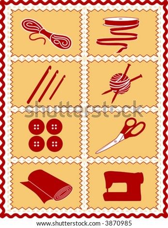 vector – Sewing, Craft Tools for knit, crochet, tailoring, fashion, quilting, do it yourself hobbies: needles, hooks, yarn, buttons, scissors, machine, ribbon, cloth, red, gold rick rack frame. EPS8. - stock vector