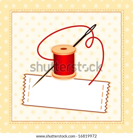 vector - Sewing Label, Needle and Thread, quilted pattern frame. Copy space to add name for sewing, tailoring, quilting, needlework, textile arts, homemade, handmade craft, do it yourself hobby. EPS8. - stock vector