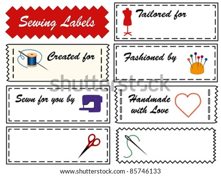 vector - Sewing Labels. 8 black & white tags with primary accents for sewing, tailoring, needlework, do it yourself projects. Copy space to customize with your name. EPS8 in groups for easy editing. - stock vector