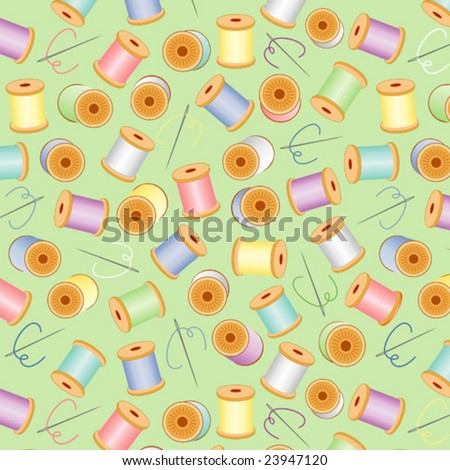 vector - Sewing Needles, Threads seamless background, pastels, for tailoring, quilts, needlework, textile arts, crafts, do it yourself hobbies. EPS8 has pattern swatch that seamlessly fills any shape. - stock vector
