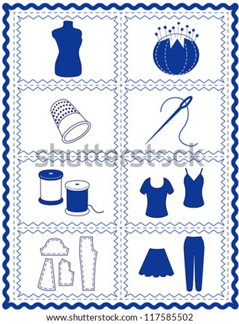 vector – Sewing, Tailoring Tools for dressmaking, textile arts, do it yourself crafts, hobbies, fashion model, pincushion, thimble, needle, thread, clothes patterns, blue rick rack frame border. EPS8. - stock vector