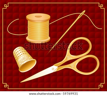 vector - Sewing Tools. Antique gold engraved embroidery scissors, thimble, needle, thread, frame, red quilted background cloth. For embroidery, needlecraft, tailoring, quilting, do it yourself sewing. - stock vector