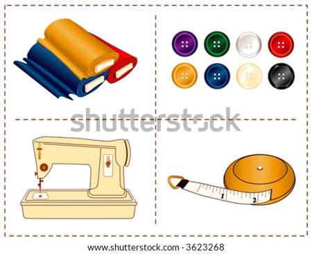 vector - Sewing Tools, Machine, tape measure, bolts of fabric, buttons in jewel fashion colors, for tailoring, dressmaking, do it yourself handmade, homemade crafts, hobbies. Stitch frame border. EPS8 - stock vector