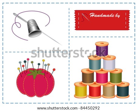 vector - Sewing Tools. Silver thimble, needle, sewing label with copy space for name, strawberry pin cushion, thread spools, for do it yourself fashion projects, tailoring, needlework, quilting. EPS8. - stock vector