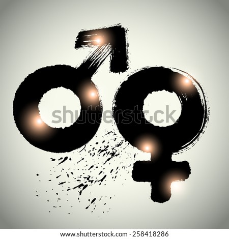 Vector: sex symbol with brushwork style - stock vector