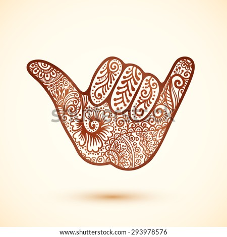 Vector shaka surfer's hand in Indian henna tattoo style - stock vector