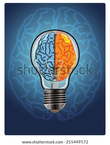 Vector shape of an incandescent bulb and the brain as a symbol of creative ideas