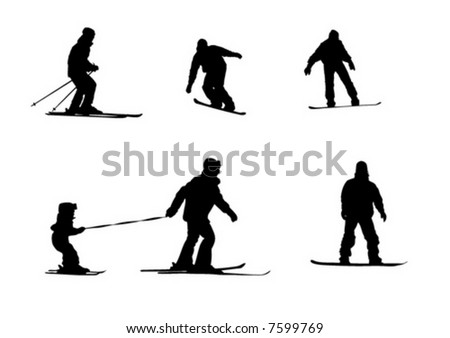 vector shape sport silhouette winter snowboard sky mother small boy - stock vector