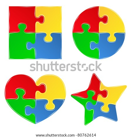 Vector shapes of jigsaw puzzle pieces - stock vector