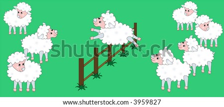 Vector sheep jumping over a fence illustration. - stock vector
