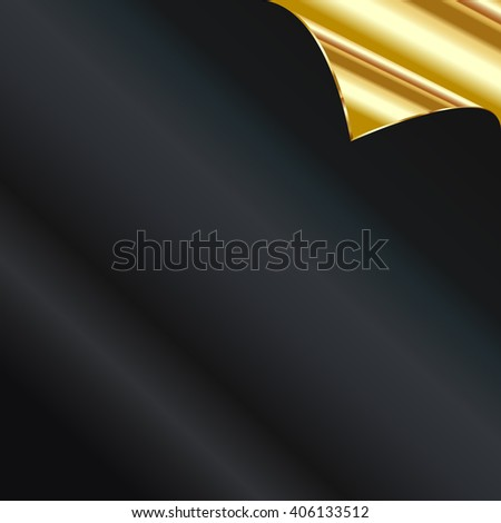 Vector Sheet of golden paper with a curl - stock vector